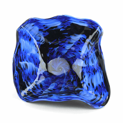 "Blown Glass, Blue and Black Swirl Bowl. SIZE EXTRA SMALL. 12"" Diameter 5"" Height."