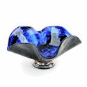 Alternate image 1 for Blue Hurricane Glass Bowl By Blown Glass