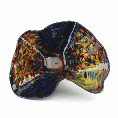 "Blown Glass, Black/Multi-Colored Impressionism Bowl. SIZE MEDIUM. 16"" Diameter 7"" Height."