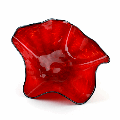 """Blown Glass, Red Bowl with Black Edge. SIZE MEDIUM. 16"""" Diameter 7"""" Height."""