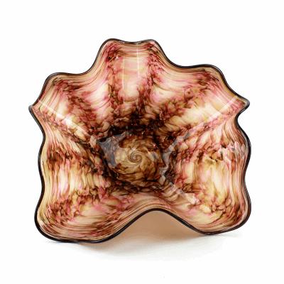 "Blown Glass, Pink and Brown Swirl Bowl. SIZE MEDIUM. 16"" Diameter 7"" Height."