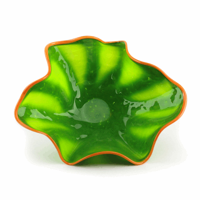 """Blown Glass, Green Bowl with Orange Edge. SIZE SMALL. 14"""" Diameter 6"""" Height."""