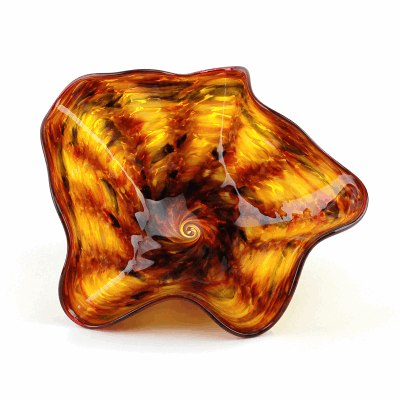 """Blown Glass, Brown and Orange Swirl Bowl. SIZE EXTRA SMALL. 12"""" Diameter 5"""" Height."""