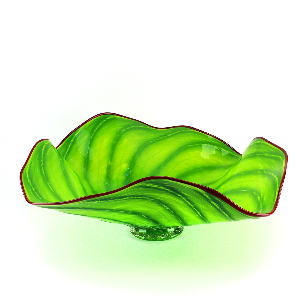 Green Palm Frond Glass Platter - alternate