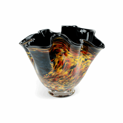 """Blown Glass, Black and Multi-Colored Deep Bowl. SIZE SMALL. 12"""" Diameter 10"""" Height."""