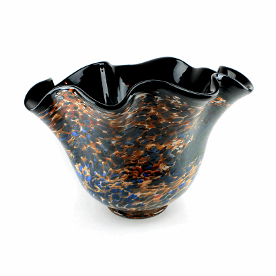 """Blown Glass, Black and Multi-Colored Bowl. SIZE LARGE. 18"""" Diameter 12"""" Height."""