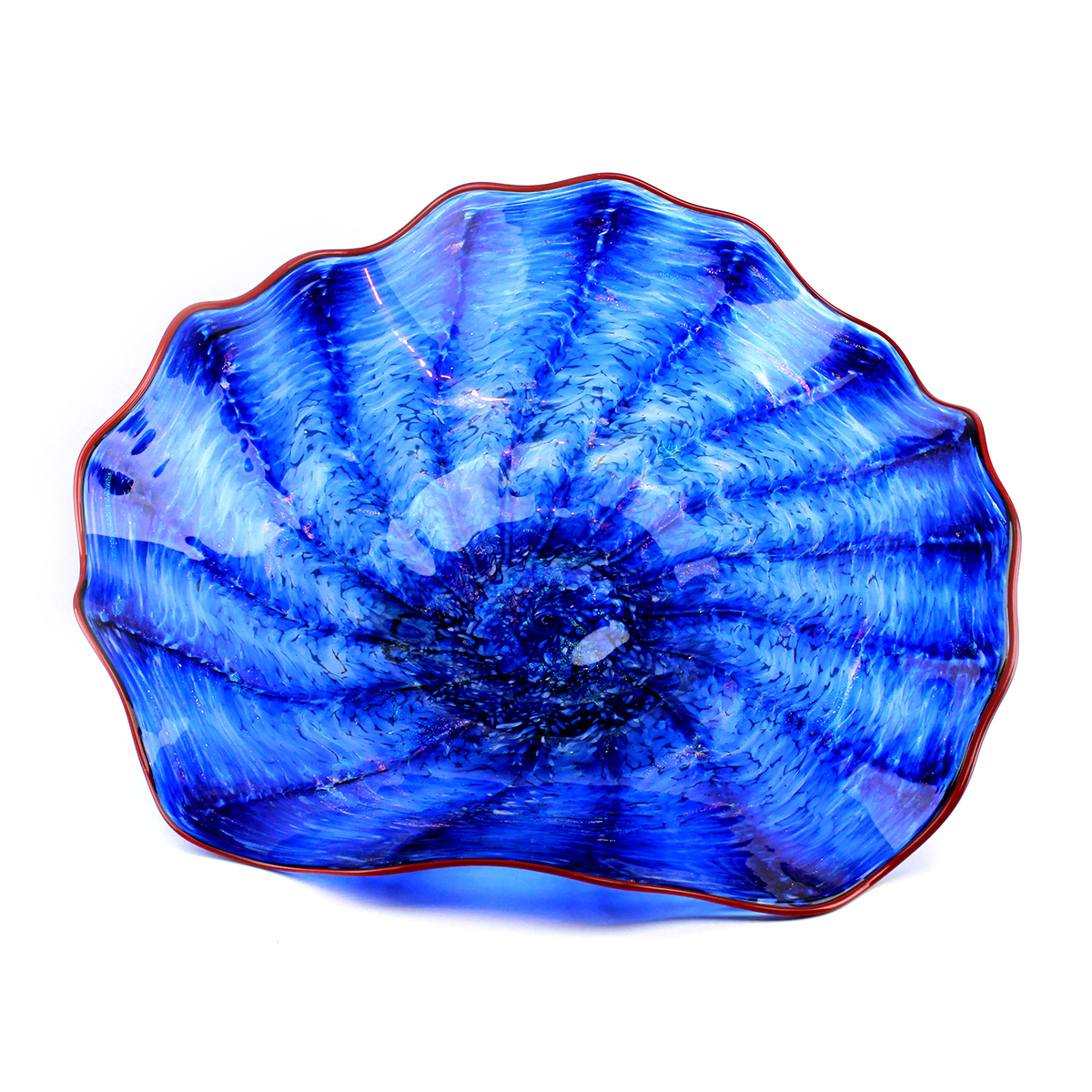 blown glass shades of blue swirl platter with red edge size large