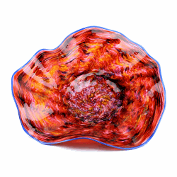 Closeup image for View Big Blue Swirl Glass Platter By Lanae