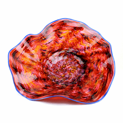 "Blown Glass, Shades of Orange and Red Swirl Platter with Blue Edge. SIZE LARGE. 21"" Diameter 7"" Height."