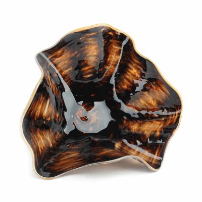"Blown Glass, Dark Brown Swirl Bowl. SIZE SMALL. 14"" Diameter 6"" Height."