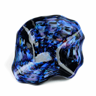 """Blown Glass, Blue and Black Bowl. SIZE EXTRA SMALL. 12"""" Diameter 5"""" Height."""