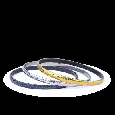 "A stunning handpicked 24K Gold, Diamond & Oxidized Hammered Silver & Polished Silver Bangle Diameter - 2.75"" by designer Kurtulan"