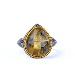 Closeup image for View Kurtulan 24K Gold & Oxidized Silver Leaf Diamond Ring