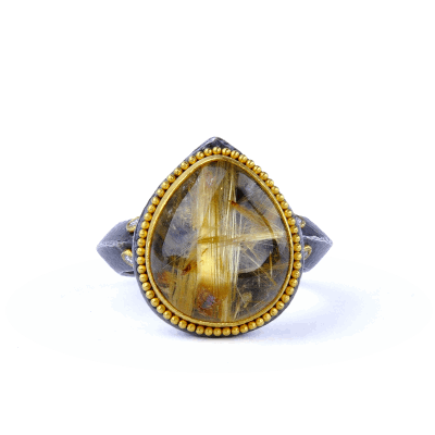 A stunning handpicked 24K Gold, Oxidized Silver, Diamonds, Rutilated Quartz by Designer Kurtulan