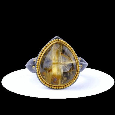 A stunning handpicked 24K Gold, Oxidized Silver, Diamonds, Rudilated Quartz by designer Kurtulan