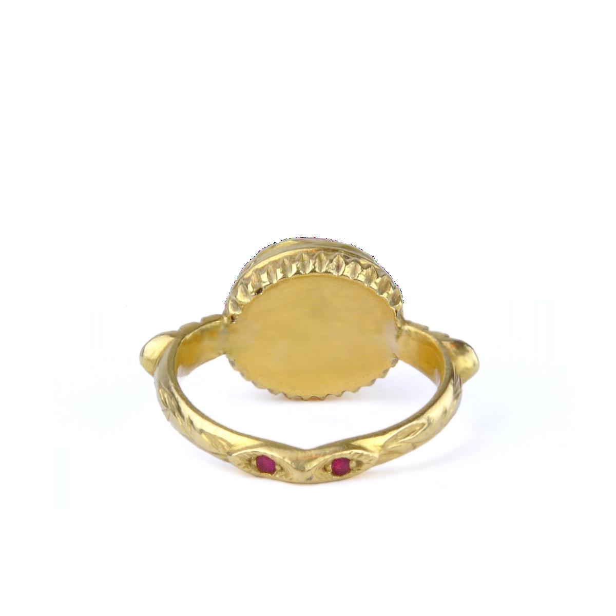 Kurtulan 24K Gold, Ruby And Sponge Coral Ring - alternate