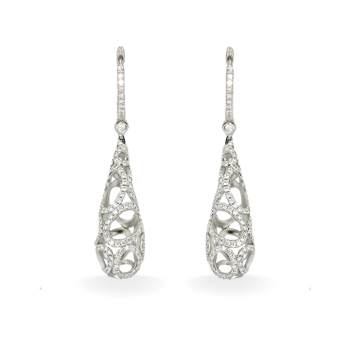 A Stunning Handpicked 18k White Gold And Diamond Earrings By Designer Lanae