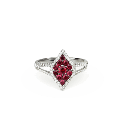 A stunning handpicked Ruby And Diamond Lotus Ring by designer LaNae