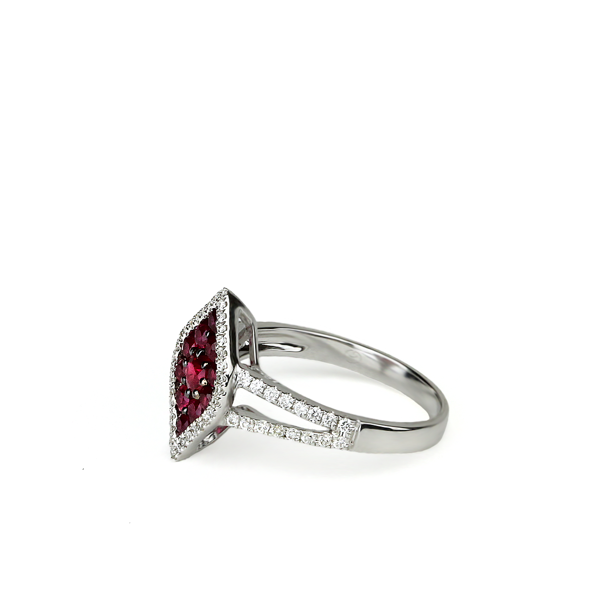 Ruby And Diamond Lotus Ring - alternate