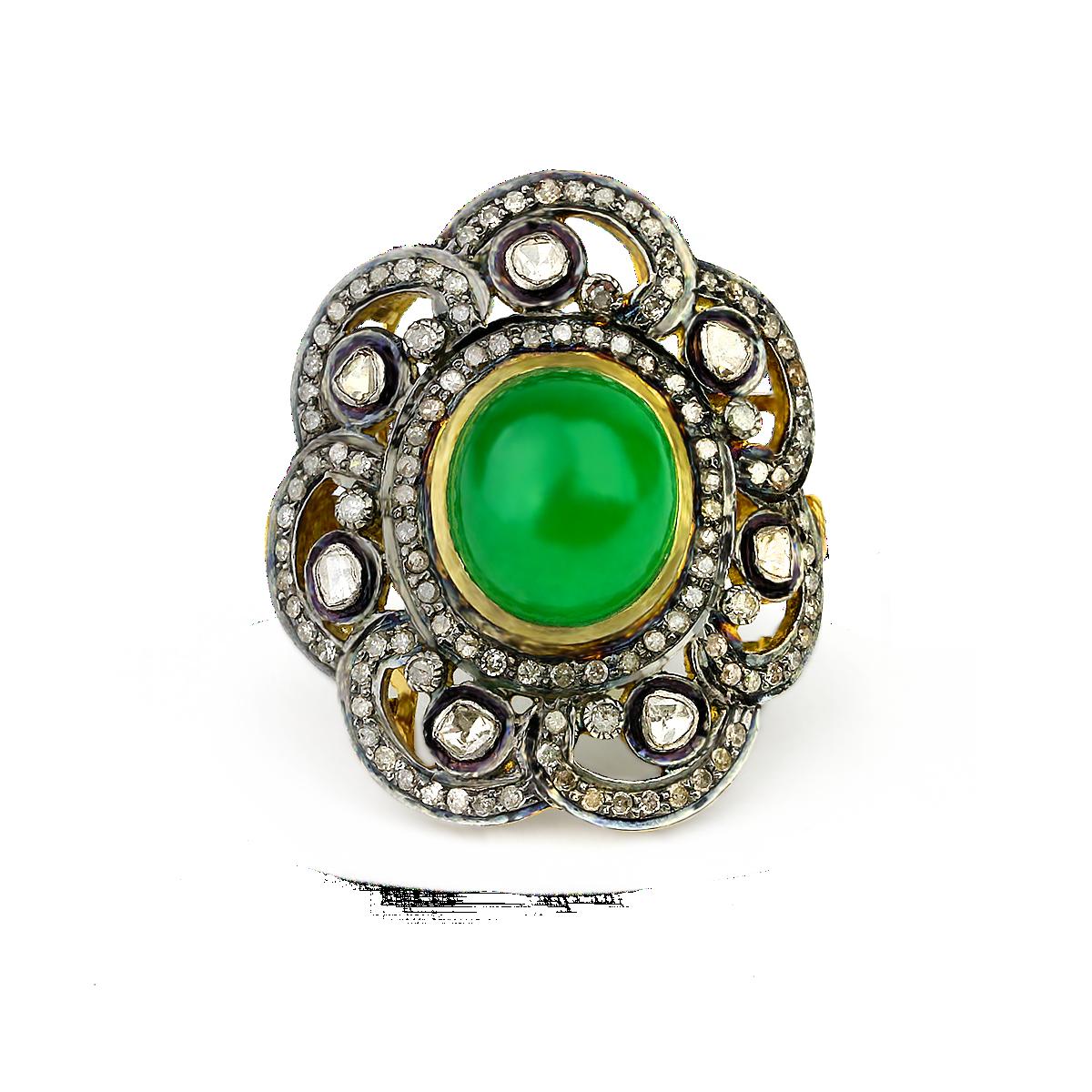 Kurtulan con esmeralda anillo verde el fit del cordón del diamante ...