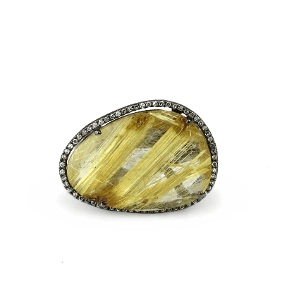 A stunning handpicked Kurtulan Rutilated Quartz Ring by Designer Kurtulan