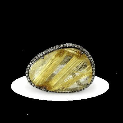 A stunning handpicked Kurtulan Rudilated Quartz Ring by designer Kurtulan