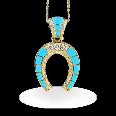 A stunning handpicked Horseshoe Sleeping Beauty Turquoise Large Pendant With Diamonds by designer LaNae