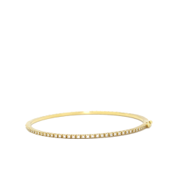 Closeup image for View Diamond 18K Yellow Gold Oval Hinged Bangle By Lanae