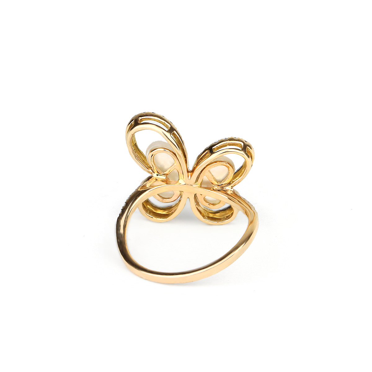 Mother Of Pearl Butterfly Ring With Lining Diamonds - alternate