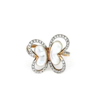 A stunning handpicked Mother Of Pearl Butterfly Ring With Lining Diamonds by designer LaNae