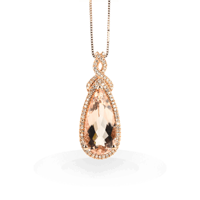 A stunning handpicked Morganite Pendant With Rose Gold Lining Diamonds by designer LaNae