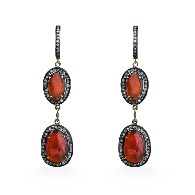 A stunning handpicked Amber Double Drop Earrings With Diamonds by designer LaNae