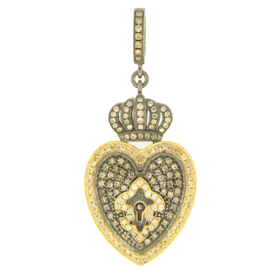 Old English Lock topped with Crowned Heart and Enhanced with Diamond Fleur de Lis Overlay.
