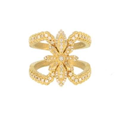 White Diamond Star Flower Cage Ring in Yellow Gold.