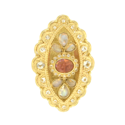 Yellow Gold Olivia Ring with an Oval Pink Tourmaline Surrounded by White Aqua and Moonstone Pedals, Outlined with a White Aqua Bezel.