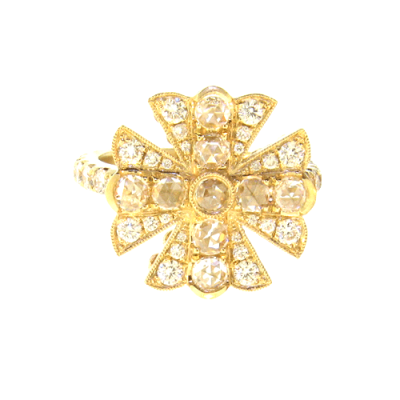Yellow Gold Cross Ring with Rose Cut Diamonds Creating the Center Cross, Surrounded by White Diamonds - the Center of the Shank is White Diamonds.