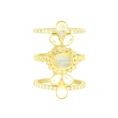 Beautiful Yellow Gold and White Diamond Cage Ring with an Oval Moonstone Surrounded by White Diamonds and Moonstone Pedals.