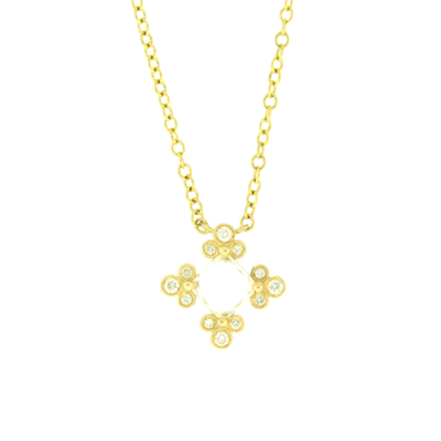 Beautiful Square White Topaz Stone Surrounded by Yellow Gold and Small Diamond Clusters, Hanging from a Yellow Gold Chain Necklace.