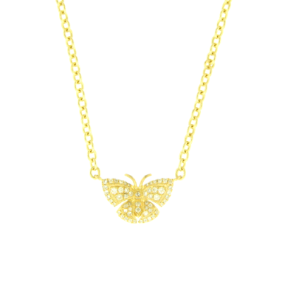 Yellow Gold and White Diamond Butterfly Necklace.