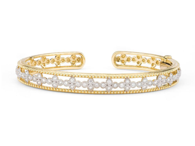 The provence open quad cuff features 18k yellow gold with bezel set round diamonds.