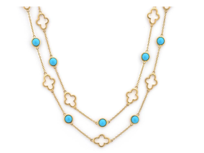 The bezel set stone chain with alternating elongated clovers features round cabochon turquoise stations bezel set in 18k yellow gold with alternating open clover motif stations on an 18k yellow gold chain. 16 4mm turquoise discs, 3.04 tcw. 32 inches.