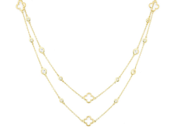 Closeup image for View Bezel Set Stone Chain With Alternating Maltese Crosses By Jude Frances