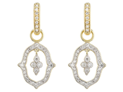 The moroccan open pave earring charms with hanging quad feature an 18k yellow gold open moroccan motif surrounded with pave diamonds with a hanging pave diamond moroccan quad.