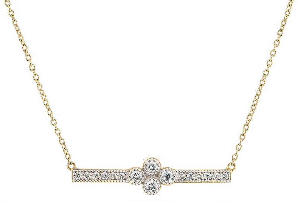 Jude Frances 18k Provence Diamond Curved Bar Necklace SN2NBaG