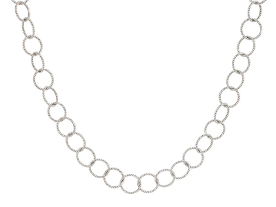 The round loopy chain features 18k white gold round links. 16 inches.