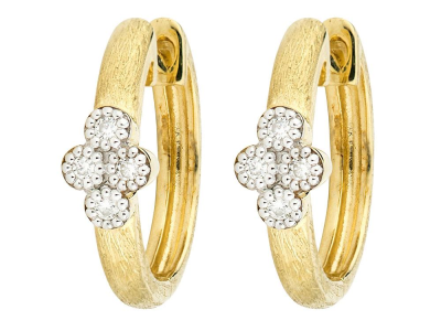The provence small hoop earrings feature bezel set round diamonds set in 18k gold quads on 18k yellow gold hoops with the signature brushed jfj finish.