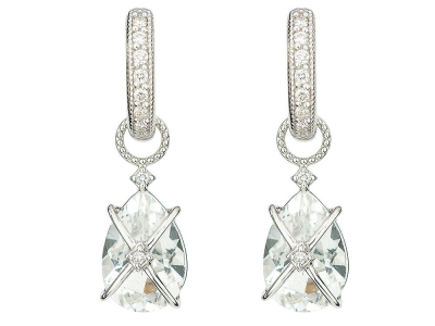 The tiny criss cross wrapped pear stone earring charms feature pear shaped faceted white topaz wrapped in 18k white gold with simple diamond accents.