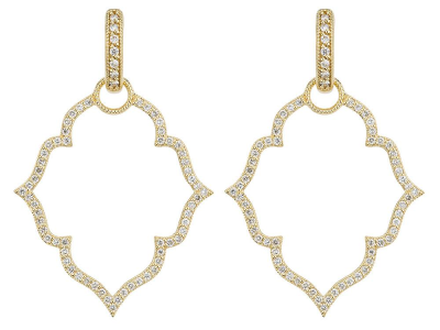 The michelle flower pave earring charm frames feature 18k white gold with french pave set diamonds. wear earring charms frames alone or along with any number of judefrances hoops and earring charms.