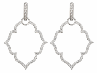The michelle flower pave earring charm frames feature 18k yellow gold with french pave set diamonds. wear earring charms frames alone or along with any number of judefrances hoops and earring charms.