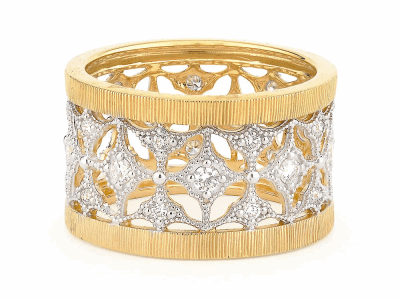The lacey band features 18k yellow gold with prong set round diamonds accented with white rhodium.